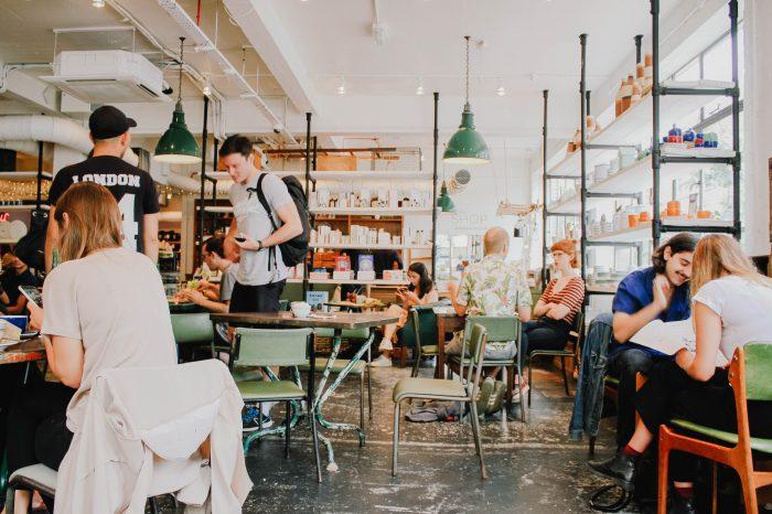 cozy cafe social conversation