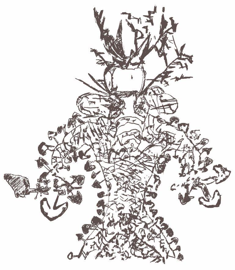 Tassil n'Ajjer mushroom man drawing